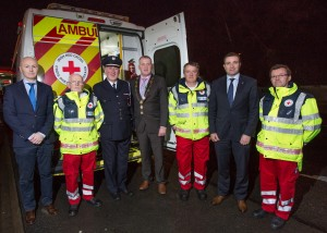 Councillor Seamus Browne, Tommy Gray, National Director Tony Lawlor, Cathaoirleach Liam Galvin, Ger Doody, Deputy Niall Collins and Regional Director Dr. Andrew Kelly are pictured at the launch of the new ambulance for the Red Cross in Newcastle West